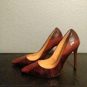 Snakeskin print high heels